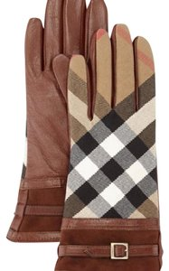 Burberry Tech Bridle Housecheck Nicola Touch Gloves, Brown