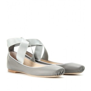 Chlo Ballet Slip On Leather Crisscross Strap Gray Flats