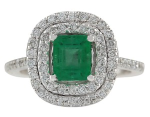 Fashion Strada 2.00CTW Natural Colombian Emerald And Diamond Ring In 14K White Gold