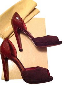 Sergio Rossi Leather Pumps Suede Burgundy Platforms