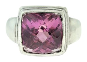 Other Vintage Square Cut Pink Topaz Ring- Sterling Silver