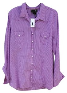Buffalo David Bitton Checkered Button Down Shirt purple