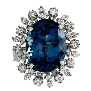 Fashion Strada 13.13Ct Natural London Blue Topaz And Diamond Ring In14K Solid White G