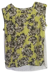 J.Crew Eyelet Floral Sleeveless Top YELLOW AND WHITE