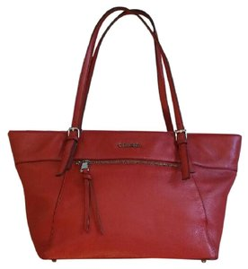Calvin Klein Pebble Leather Tote in Red