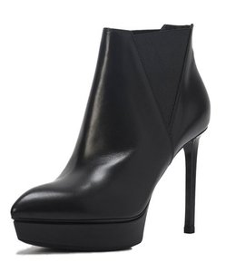 Saint Laurent Platform Leather Black Boots