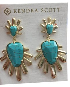 Kendra Scott Sterling Spike Turquoise and gold earrings