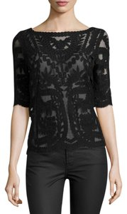 Laundry by Shelli Segal Evening Lace Boat Neck Mesh Top Black