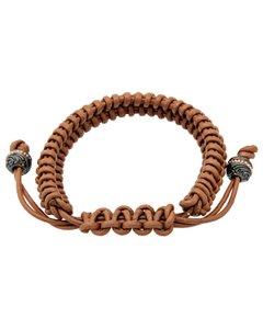 Stephen Webster Stephen Webster Men's No Regrets tan woven leather bracelet with silve