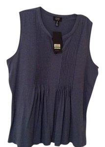 Jones New York Summer Sleeveless Cotton Blue Sleeveless Top Chambray Blue
