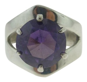Other Vintage Amethyst Solitaire Ring - Sterling Silver