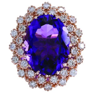 Fashion Strada 9.19CTW Natural Amethyst And Diamond Ring In 14K Solid Rose Gold