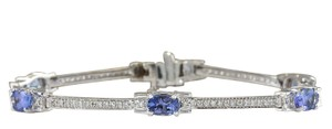 Fashion Strada 3.75CTW Natural Tanzanite And Diamond Bracelet In 14K Solid White Gold