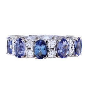 Fashion Strada 6.94CTW Natural Tanzanite And Diamond Ring In 14K White Gold