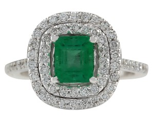 Fashion Strada 2.12CTW Natural Colombian Emerald And Diamond Ring In 14K White Gold