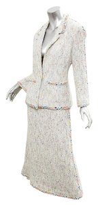 Chanel 99P White Multi-Color Cotton Boucle Textured Jacket Long Skirt Suit