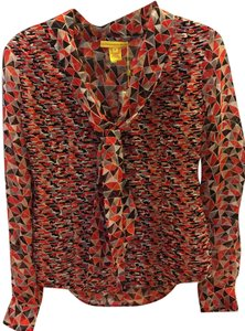 Catherine Malandrino Silk Sheer Pleated Front Tie Geometric Print Button Down Top red grey black white