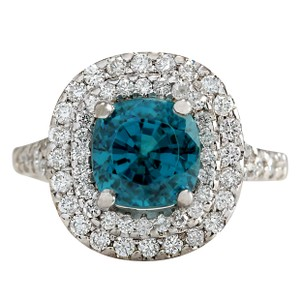 Fashion Strada 5.94CTW Natural Blue Zircon And Diamond Ring 14K Solid White Gold