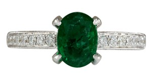 Fashion Strada 2.11CTW Natural Emerald And Diamond Ring In 14K White Gold