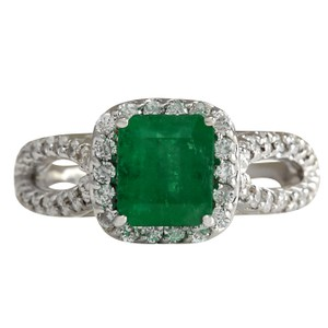 Fashion Strada 2.18CTW Natural Emerald And Diamond Ring 14K Solid White Gold