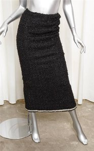 Chanel 98a Wool Sheath Maxi Skirt BLACK