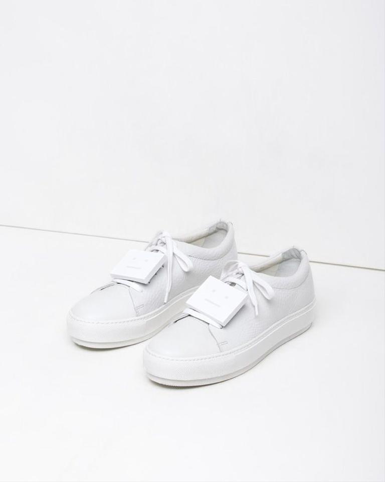 c9e9c11f6530 Acne Studios White Adriana Grain Leather Minimalist Block Face ...