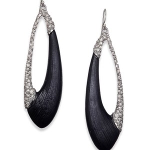 Alexis Bittar Deco Lucite & Crystal Asymmetrical Oval Drop Earrings/Black