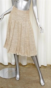 Chanel 08p Pleated Skirt BEIGE