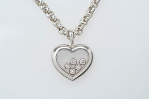 Chopard Chopard 18kt White Gold Happy Floating Heart Diamond Necklace Pendant