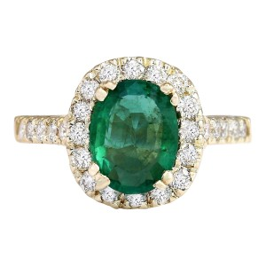 Fashion Strada 2.31 CTW Natural Emerald And Diamond Ring In 14k Yellow Gold