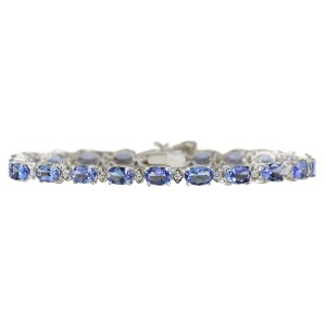 Fashion Strada 11.35 CTW Natural Tanzanite And Dimond Bracelet In 14k Solid White Gol