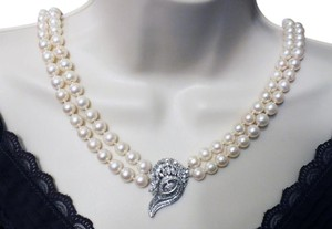 Other Double Strand Pearls with Antique Diamond Clasp