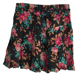 Mimi Chica Mini Skirt navy w/pink & blue flowers