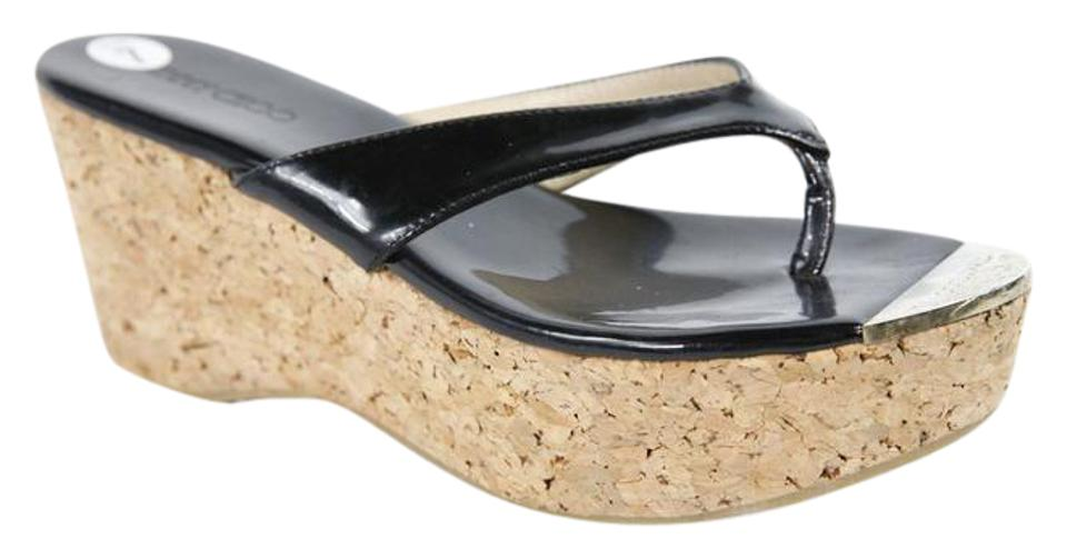 Jimmy Choo Black Cork Patent Wedges Leather Sandal Wedges Patent e294c4