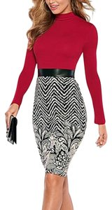 VENUS short dress Red, Black and White on Tradesy