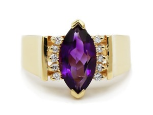 DIANA M. JEWELS 14k Marquise Cut Amethyst Ring with Diamonds