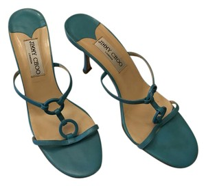 Jimmy Choo Blue Low Heeled Turquoise Blue Sandals