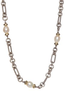 David Yurman David Yurman Pearl Station Figaro Chain Link Necklace
