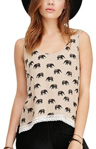 Forever 21 Top Cream/Taupe, Black