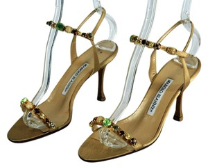Manolo Blahnik Ankle Strap Leather Satin Crystals Gold Sandals