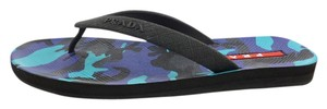 Prada Rubber Camo Blue Sandals