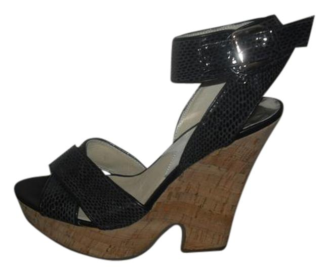 Item - Black New Ankle Wrap Leather Sandals Heels Platforms Size US 9 Regular (M, B)
