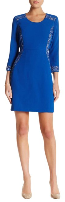 Item - Blue Lace Detail Short Formal Dress Size 10 (M)