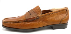 Santoni Pebbled Leather Strap Loafers