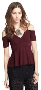 Free People Off Peplum Cutout Cold Open Top Burgundy