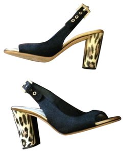 Kate Spade Slingback Sandal Animal Print Linen black/ leopard Pumps