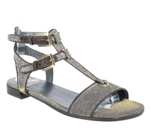 Stuart Weitzman Pewter and Gold Sandals