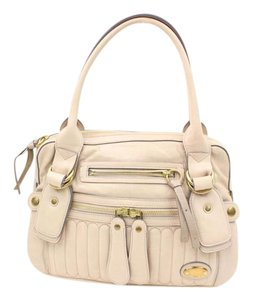Chloé Bay Hobo Leather White Satchel in Beige Ivory