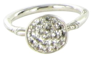 John Hardy Bamboo Small Round Ring White Topaz Sterling Silver Sz 6.5