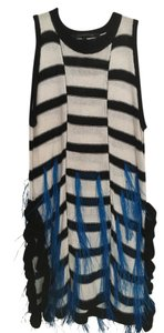 Thakoon Raffia Linen Top BLACK/WHITE & BLUE